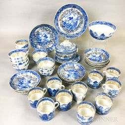 "Thirty-nine Pieces of ""Nanking"" Transfer-decorated and Gilt Pearlware"