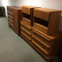 Low Dresser, Tall Chest of Drawers, and Two Nightstands