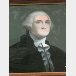 Framed Reverse-Painted Portrait of George Washington on Glass.