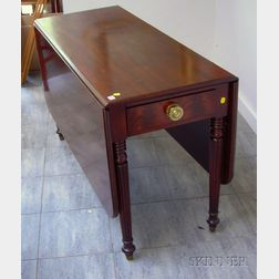 F. & G./Adolfo Genouese Federal-style Mahogany Deep Drop-leaf Dining Table with End   Drawer