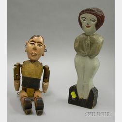 Folk Carved and Painted Wooden Articulated Marionette Puppet and a Carved and   Painted Wooden Standing Figure of a Woman