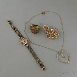 Four 14kt Gold and Ruby Jewelry Items