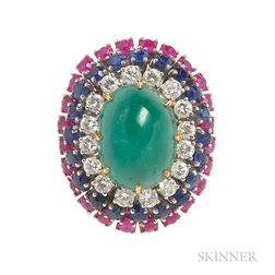 Platinum, Colored Stone, and Diamond Ring