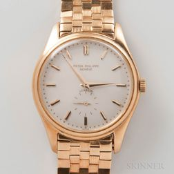 "Rare Patek Philippe ""Double Signed"" 18kt Gold Automatic Wristwatch Reference 2526"