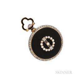 Edwardian Enamel, Diamond, and Seed Pearl Open-face Pendant Watch, Agassiz