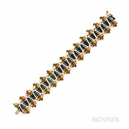 18kt Gold, Enamel, Cultured Pearl, and Emerald Bracelet
