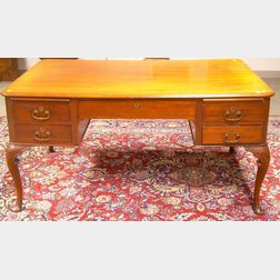 Queen Anne Style Carved Mahogany Partners' Desk
