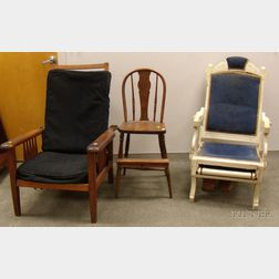 Late Victorian Oak Spindle-sided Adjustable Back Morris Chair with Cushions, a White-painted Renaissance Reviva...