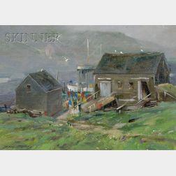 Don Stone  (American, b. 1929)      From Wharf Hill, Monhegan Island, Me.