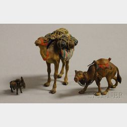 Three Miniature Cold-painted Bronze Figures