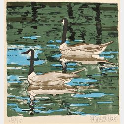 Neil Welliver (American, 1929-2005)      Canada Geese