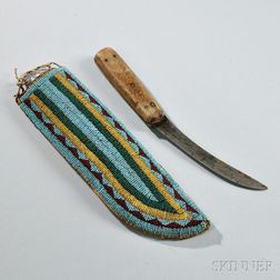 Assiniboine Beaded Hide Knife Sheath