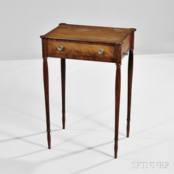 Federal Carved Mahogany and Mahogany Veneer Worktable