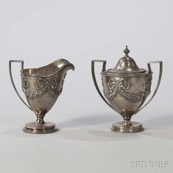 George Shiebler Sterling Silver Creamer and Covered Sugar