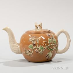 Staffordshire Ochre Ground Teapot and Cover