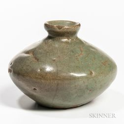 Celadon-glazed Stoneware Oil Bottle