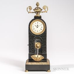 Brass and Painted Metal Automaton Mantel Clock