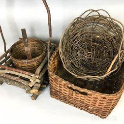Six Woven Splint Baskets.     Estimate $100-200