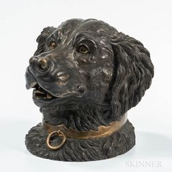 Cast Bronze Dog Head-form Tobacco Jar