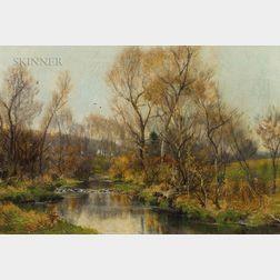 Hugh Bolton Jones (American, 1848-1927)      Backcountry Stream in Autumn