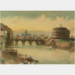 John Martin (British, 1789 - 1854)  Along the Tiber/View of the Castel Sant'Angelo and St. Peters Basilica