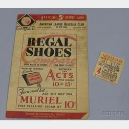 1939 Major League Baseball All Star Game Score Card and Ticket Stub