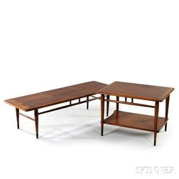 Lane Walnut Coffee Table and Side Table