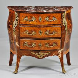 Louis XV-style Marble-top Marquetry Commode