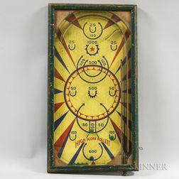 Early Lithographed Wood and Glass Pinball Game