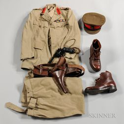 WWII British Army Officer's Uniform, Belt, and Boots