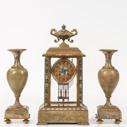 Green Onyx and Enameled Clock and Garniture