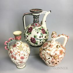 Three Zsolnay Floral-decorated Ceramic Pitchers