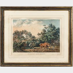 Currier & Ives Lithograph American Farm Scene, No. 1