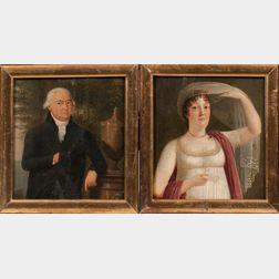 German School, 19th Century      Pendant Portraits of a Count and Countess: Carl Philipp Graf von Ingelheim