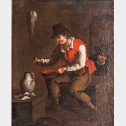 Dutch School, 17th Century    Seated Peasant Man with a Pipe and Jug