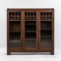 Arts and Crafts Three-door Glazed Bookcase