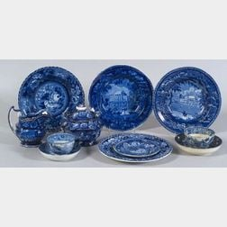 Nine Assorted  Blue Transfer Decorated Staffordshire Pottery Table Items
