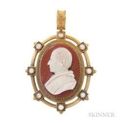 Antique Gold and Hardstone Cameo Pendant