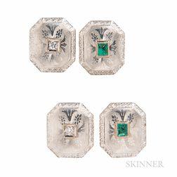 Edwardian Platinum, 14kt Gold, Emerald, and Diamond Cuff Links