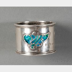 Edward VII Arts & Crafts Sterling and Enamel Napkin Ring