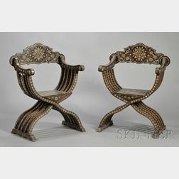 Pair of Hispano-Moresque Bone-inlaid Hardwood Curule-form Chairs