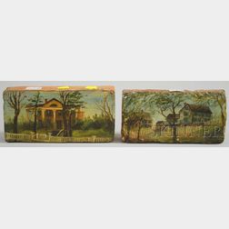 Two Folk Painted House Portraits on Brick