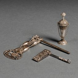 Silver and Silver Filigree Scent Bottle and Two Miniature Silver Purim Noisemakers