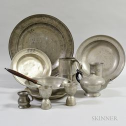 Twelve Pieces of Mostly English Pewter Tableware