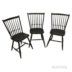 Three Black-painted Bamboo-turned Arrow-back Windsor Side Chairs