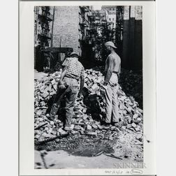 """Walker Evans (American, 1903-1975)       Workmen, Made for the Fortune   Magazine Article """"The Wreckers"""" (Published May 1951)"""