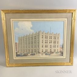 Framed Architectural Gouache Rendering of a Building and Automobiles