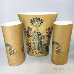 Three Bjorn Wiinblad for Rosenthal Porcelain Vases
