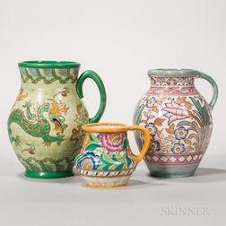 Three Charlotte Rhead Design Pottery Jugs