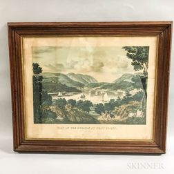 Framed Lyons & Co. Hand-colored Lithograph View on the Hudson at West Point